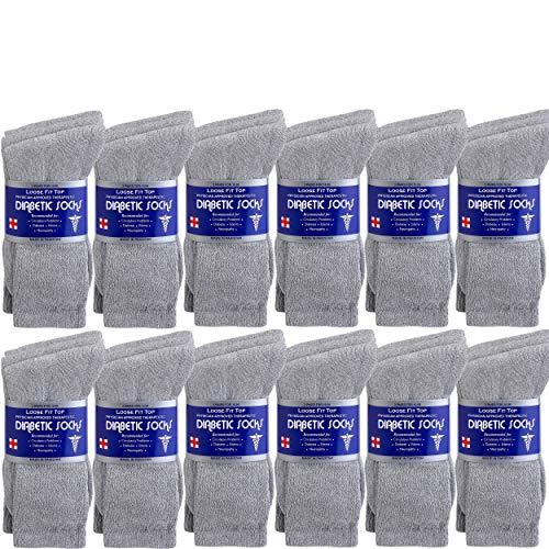 Debra Weitzner Mens Diabetic Socks Loose Cotton Socks 12-pack Crew Grey