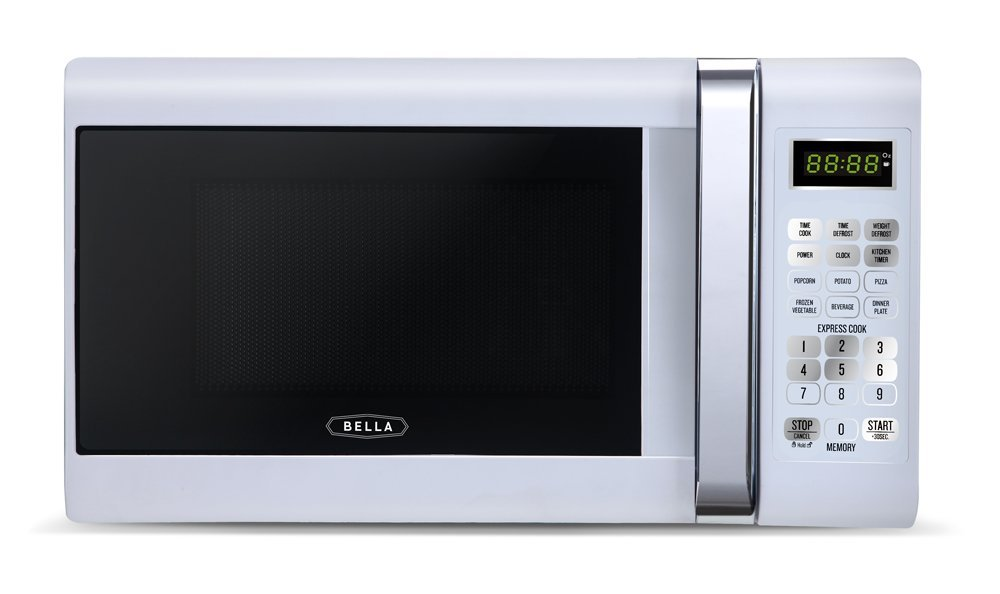Bella 700-Watt Compact Microwave Oven, 0.7 Cubic Feet, White with Chrome