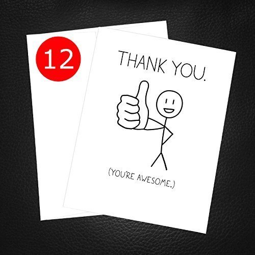 Amazon Com Simple Thank You Card Thumbs Up You Re Awesome 12
