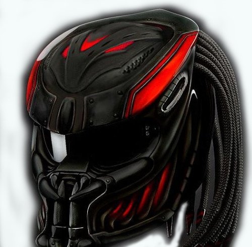 11 Three Light (AWESOME ALIEN PREDATOR HELMET CARBON MATERIAL WITH HAIR 11mm, CARVED TEXT, ADDED 3 LASER LAMP, MOTORCYCLE STYLE DOT APPROVED BEST SELLING (XL))