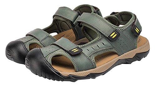 Agowoo Hombres Sandles Outdoor Closed Toe Senderismo Sandalias De Playa Verde
