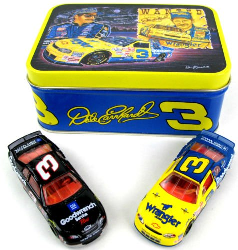 Dale Earnhardt Collectible Cars (1999 Winston All Star Race Wrangler Monte Carlo and Goodwrench Service Plus Monte Carlo 2 Car Set With Collectible Sam Bass Rendition Tin Dale Earnhardt #3 Goodwrench Service Plus Monte Carlo 1/64 Scale Diecast Cars Action Racing Collectables ARC Limited Edition)