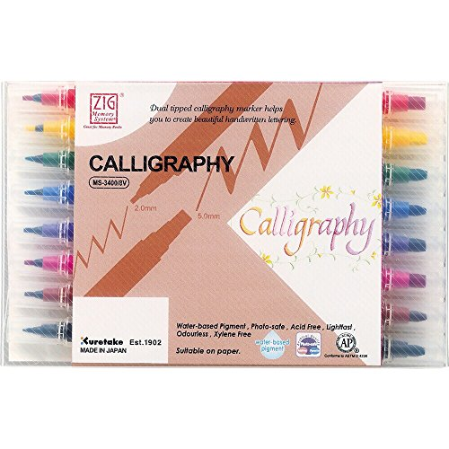 - Kuretake Zig MS34008V Memory System Calligraphy Markers, Multicolor, 8-Pack