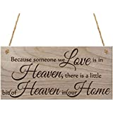 "SODIAL(R) ""Because Someone We Love Is in Heaven There Is A Little Bit of Heave..."" Plaque, Wood, Brown"