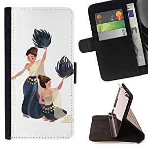 BullDog Case - FOR/HTC One M7 / - / DANCE NATIONAL NATIVE WOMEN PAINTING ART /- Monedero de cuero de la PU Llevar cubierta de la caja con el ID Credit Card Slots Flip funda de cuer