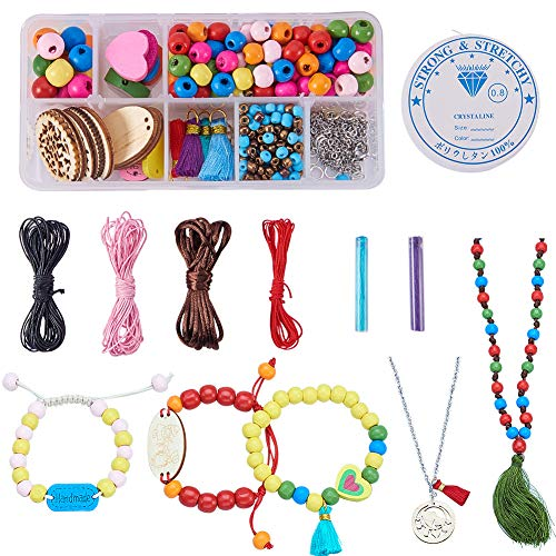 SUNNYCLUE 1 Box 380+ pcs DIY 8mm 10mm Wood Beads Kit Wooden Charm & Tassel Bracelet Necklace Jewelry Making Kit for Girls Loose Bead Craft Set