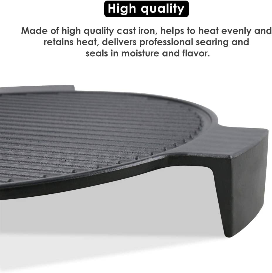 Uniflasy Cast Iron Plate Setter for Medium Big Green Egg 15.5 Heat Deflector for Ceramic Pizza Stone Smoking Stone Big Green Egg ConvEGGtor and Other 15 Cooking Diameter Grill Kamado Grill