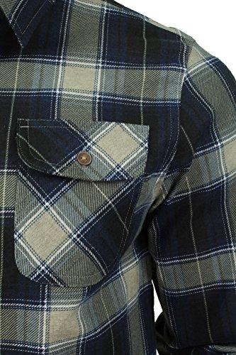 Mens Maniche lunghe spazzolato Camicia a quadri di un'anima coraggiosa (Ecru/Blue) M