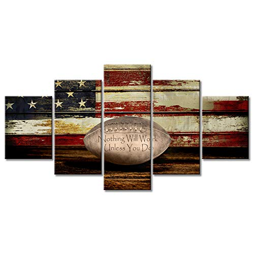 Giant Football Art - Vintage Football Canvas Wall Art US USA American Flag Prints Rustic Sports Artwork Wall Decor Home Picture for Bedroom Living Room Thin Red Line Paintings Posters Framed Ready to Hang (60