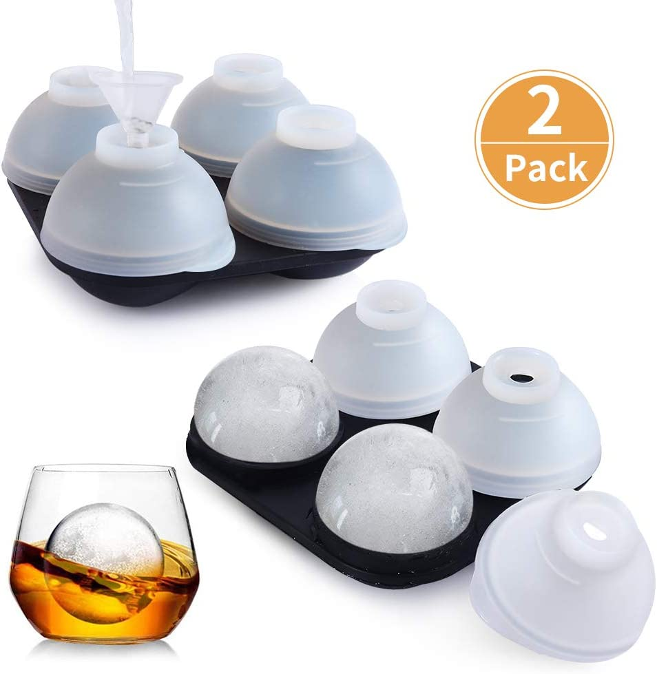 AOYAR Ice Cube Tray, Ice Ball Maker Mold, Ice Balls for Whiskey, Round Ice Cube Mold with 4 X 4.5cm Ball Capacity, Reusable and BPA Free, 2 Funnels, 2 Pcs