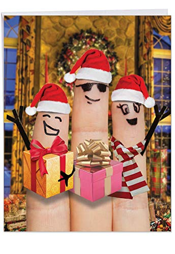 (Big 'Christmas Fingers Carolers' Merry Christmas Greeting Card - Featuring Finger Puppets w/ Christmas Spirit; With Envelope 8.5 x 11 Inch - Big Happy Holidays Gift J4983GXSG )
