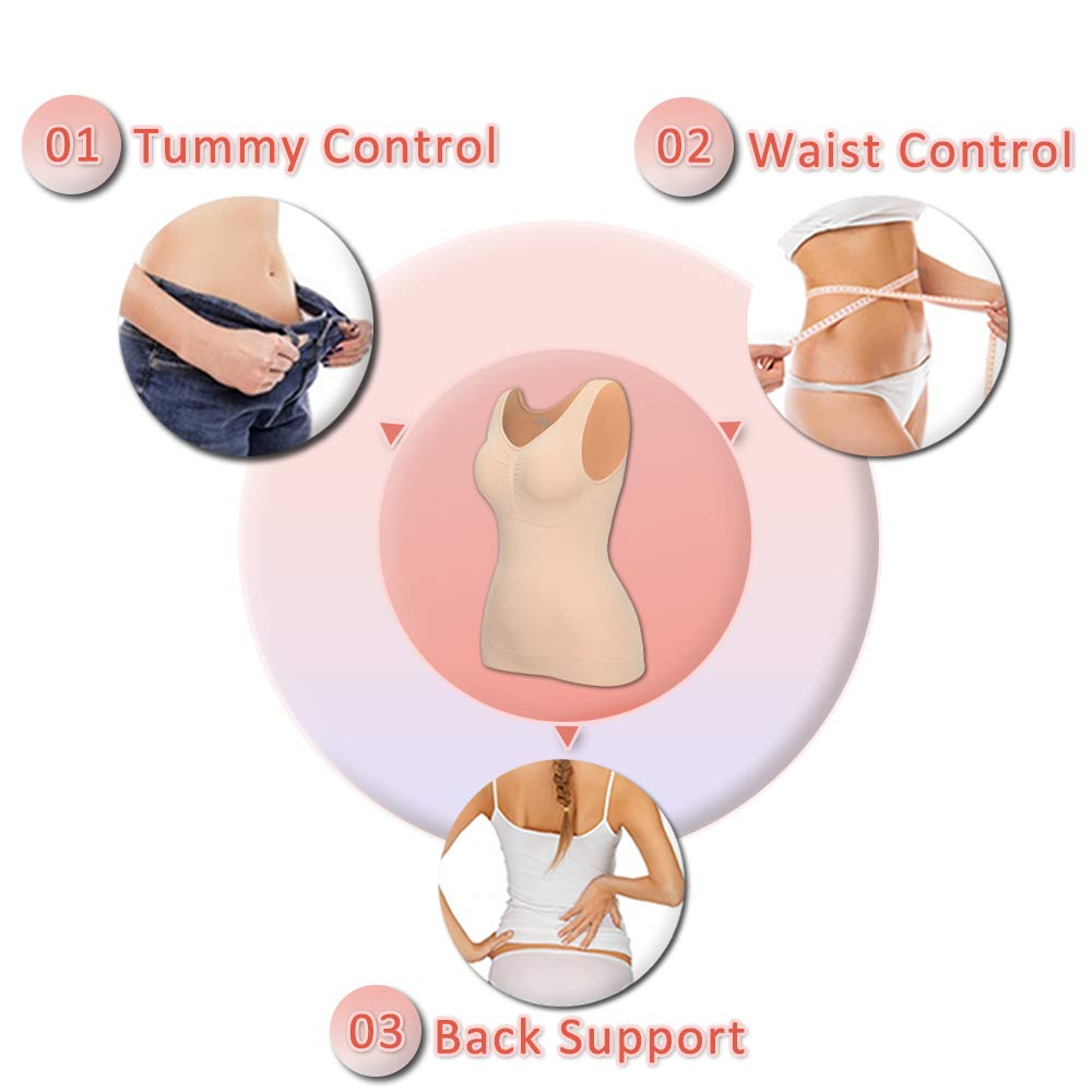 MISS MOLY Womens Shapewear Tank Top Tummy Control Shaper Slimming Tanks with Removable Pads