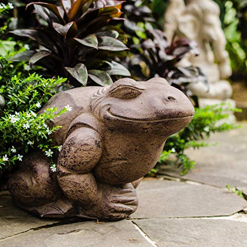 MISC Happy Garden Toad Statue Outdoor Pond Decor Lawn Yard Cement Pool Decoration Heavy Door Stopper Solid, Sand Volcanic Ash Handmade Indonesia