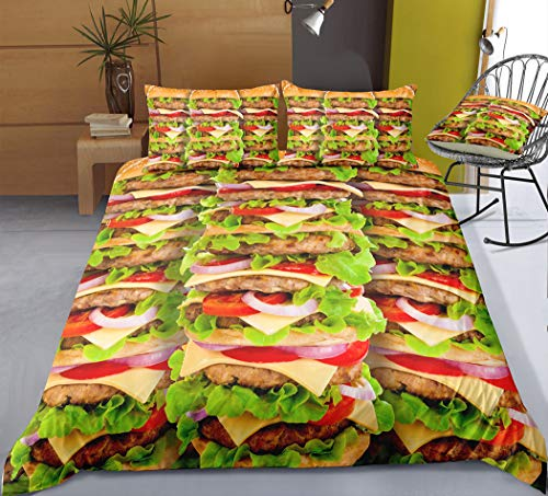 Zooka 3D Pattern Food Pizza Burger Pasta Fries Theme Duvet Cover Set 3 Piece Pillowecases Bedding Set Queen Bed Set for Adults Kids (#2,US ()