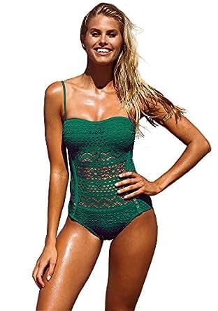 Lookbook Store Women's Black Crochet Lace Trim Halter/Strappy Adjustable Swimsuit