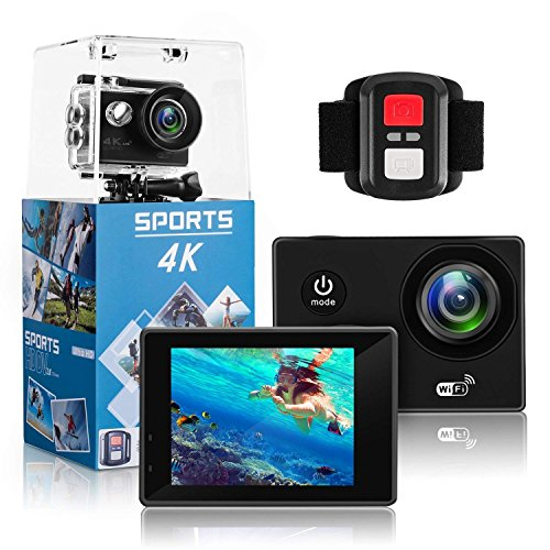 4K Sports Action Camera Ultra HD 30M Waterproof WiFi 16Mp DV Camcorder 170 Degree Wide 2 Inch LCD Screen/Remote Control/4K/HD 19 Mounting (Black) (SZ)
