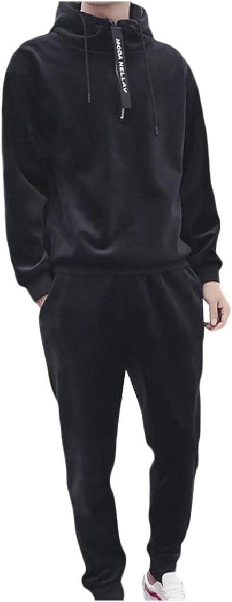 Unastar Mens Thicken Cozy Velour Casual Fleece Hood Pullover Tracksuit Set