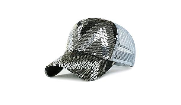 Hats for Women/Summer Sun Sun Hat/Korean Version of Glitter/Fashionable Cap/Baseball Cap/Breathable mesh Cap-A Adjustable at Amazon Mens Clothing store: