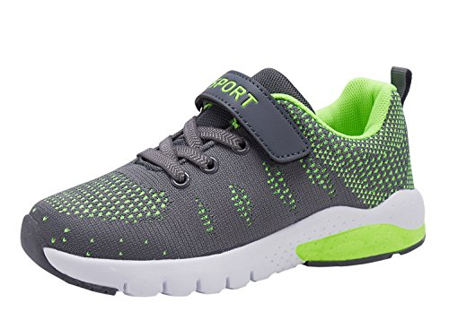 MAYZERO Kids Tennis Shoes Breathable Athletic Shoes Walking Running Shoes Fashion Sneakers for Boys Girls Grey Green (Pokemon Shoes Boys)