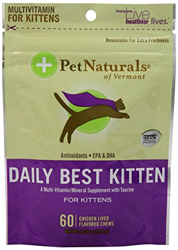 Pet Naturals of Vermont Daily Best Kitten Mineral Supplement with Taurine, 60 Count 2.54 0z