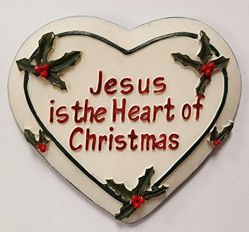 Hand Painted Jesus Heart of Christmas 2 Heart Poinsettia Plaque Ornament HDRY- 1426