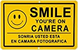 "1 Pc Worthy Popular Smile You're on Camera Yard Signs Being Watched Surveillance Premises Monitored Size 11"" x 7"" Yellow Spanish"