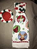 Free ship to USA - 3 piece set - Christmas Circle Red Cardinal Moose 1 CROCHET Plastic Scrubber, Towel holder & KITCHEN hand TOWEL light weight terry cloth - 100% cotton yarn