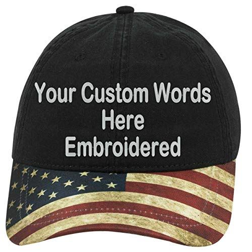 Custom Text Embroidered Dad Hat. Unstructured Adjustable Metal Buckle (USA Flag Bill/Black Hat Dad -