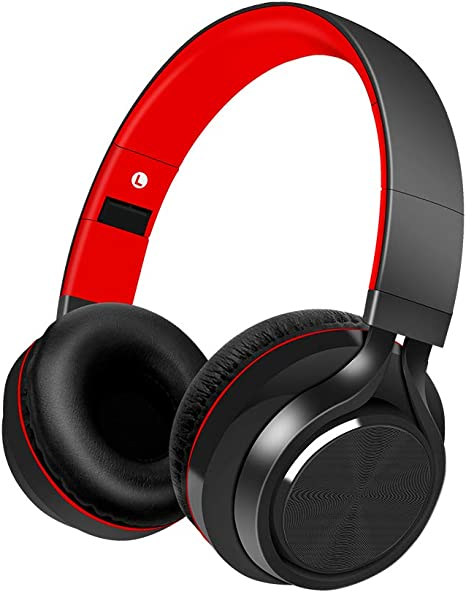 Alitoo Cascos Bluetooth Inalámbrico, Auriculares Bluetooth de Diadema, Over Ear Headphones Plegable, Auriculares Inalámbricos Cerrados con Micrófono, Audífono para Moviles, TV, PC(Negro Rojo): Amazon.es: Electrónica