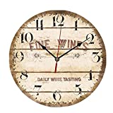 ChezMax 12'' Vintage European Creative Frameless Wooden Electronic Wall Clock of French Country Tuscan Style DIY Assembling Clock