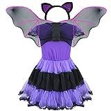 YiZYiF Girls Kids Halloween Costume Bat Princess Dress Wings With 3D Headband