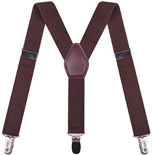 BODY STRENTH Boys' Clip On Suspenders Elastic Adjustable Y Shape Coffee