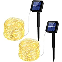 Solar Powered String Lights AveyLum 8 Modes Silver Wire Light 65.6ft Indoor/Outdoor Waterproof Ambient Decoration Starry Lights for Garden Patio Home Yard Party Wedding Christmas (2 Packs Warm White)