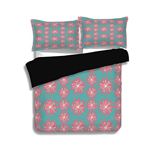 iPrint Black Duvet Cover Set Queen Size,Outdoor Decor,Germinating Plants Wildflowers Twigs Sprouts Buds Lively Rustic Patio,Teal Pink White,Decorative 3 Pcs Bedding Set by 2 Pillow Shams