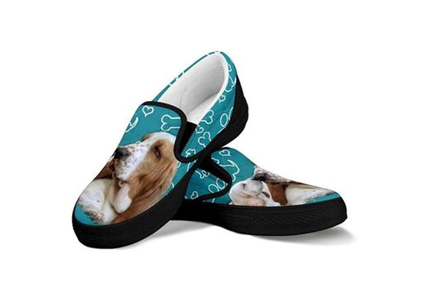 Amazon.com | Basset Hound Print Black Slip Ons For Women | Fashion Sneakers