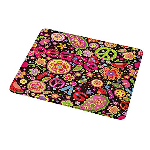 Natural Rubber Mouse Pad Groovy,Hippie Colorful Paisley Leaves Music Keys Typography Idealism Historic Revolution,Standard Size Rectangle Non-Slip Rubber Mousepad ()
