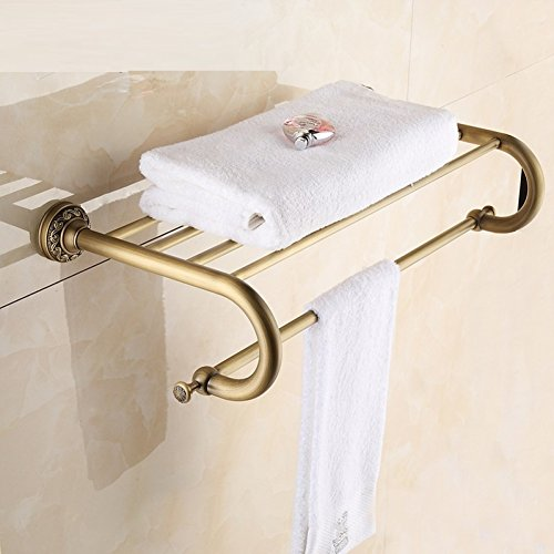 LJ&L European retro style copper yellow bathroom racks, bronze polished by hand, anti-corrosion, home and hotel decoration high-end hardware accessories,copper yellow,Length 63cm by LIUJIANGLONG (Image #3)