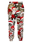 RAISEVERN Casual Trousers 3D Print Brown Cute Cat Graphic Hip Hop Funky Jogging Pants