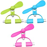 Mini Ventilator Fan Simuer 3Pack Portable 3in 1USB Cooling Fan for iPhone Android Samsung Smartphone