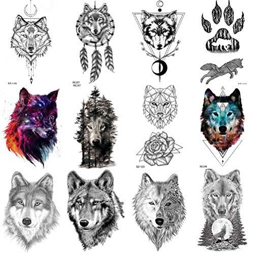 COKTAK 12Pieces/Lot Forest Realistic Wolf Temporary Tattoos For Men Body Art Women Arm Tattoo Stickers Kids Tribal Coyote Design Fake Adults Tattoo Sheets Waterproof Geometric Black Tatoos Paper Paste ()