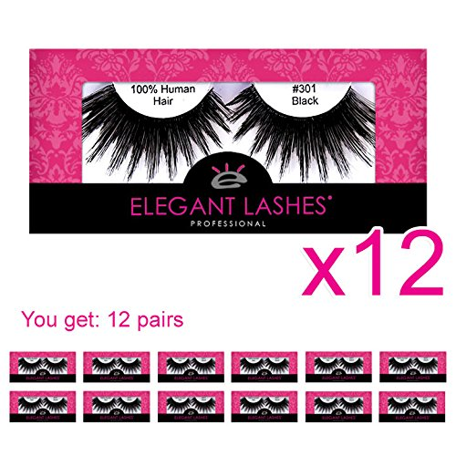 Elegant Lashes #301 Drag Queen Halloween Thick Long Black Human Hair False Eyelashes for Costume SFX Dance Rave Costume (Pack of -