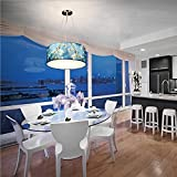 WY American Countryside Pastoral Light Blue Pendant Light Fixture Hand Painting Restaurant Simple Chandelier, A, 20CM