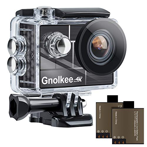 "Gnolkee 4K WiFi Action Camera, 100 Feet Waterproof Camera with 170 Ultra Wide Angle Lens, 2"" IPS Screen Underwater Camera with Accessories Kit for Go pro PC Webcam YouTube/Vlogging Video"