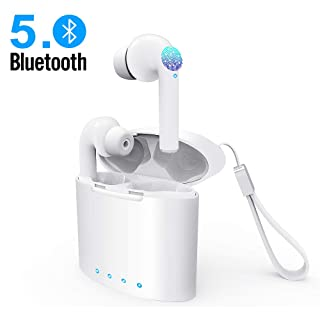 Bluetooth Wireless Earbuds Magnetic Earphones Lightweight Ear Buds Sports Buds Mic Stereo in-Ear Headphones IPX5 Waterproof Hi-Fi Sound Charging Case for Android, Samsung, iPhone, iOS(White)