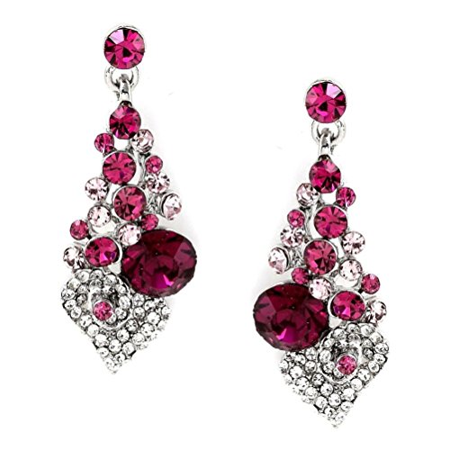 Pearls Grape Bunches Earrings (CSG Fashion Fuchsia Stones Grape Bunch Shape with Heart Round Shape Exquisite Crystal Luxurious Rhinestone Dangle)