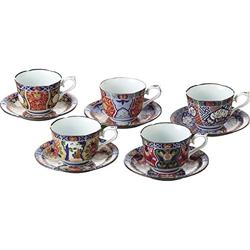 Old Imari 3.5inch Set of 5 Cup & Saucer White Porcelain