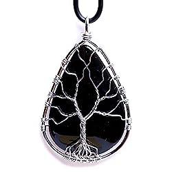 Natural Black Gemstone Teardrop Pendant Necklace