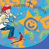 Twizler 7th Birthday Card For Boy with Scooter - Seven Year Old - Age 7 - Childrens Birthday Card - Boys Birthday Card - Happy Birthday Card