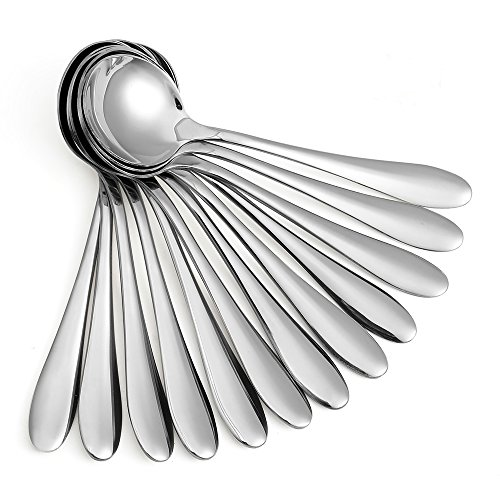 (Eslite Large Soup Spoons/Stainless Steel Bouillion Spoons,12-Piece,7.7 Inches)