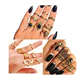 YOUGKING Vintage Knuckle Ring Set Pack of 3 Sets Stackable Rings Finger Rings Punk Ring for Women Girls (Gold, 26 Piecest)